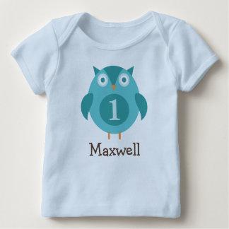 Coruja azul personalizada do t-shirt | do camiseta para bebê