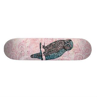 Coruja bonito azul cor-de-rosa do vintage shape de skate 21,6cm