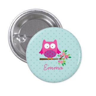Coruja bonito cor-de-rosa botão personalizado bóton redondo 2.54cm
