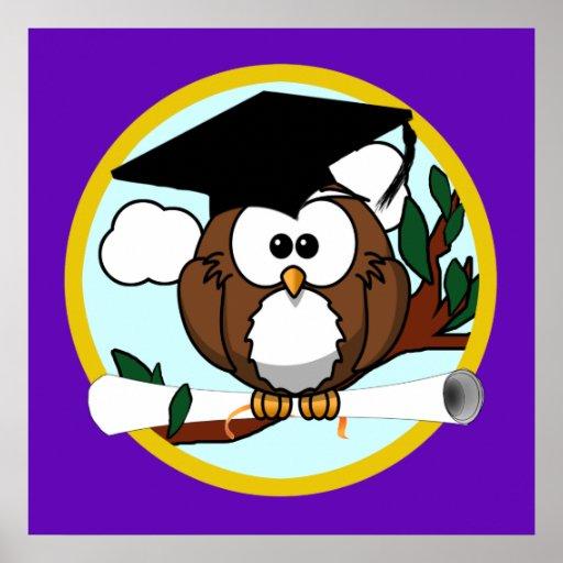 Coruja bonito da graduação dos desenhos animados c poster