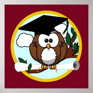 Coruja bonito da graduação dos desenhos animados poster