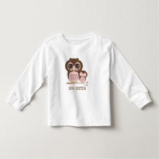 Coruja bonito da irmã mais velha com Sis sonolento Camiseta Infantil
