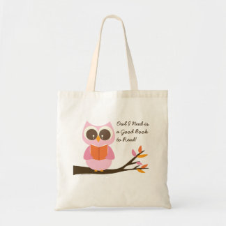 Coruja bonito da leitura bolsa para compras