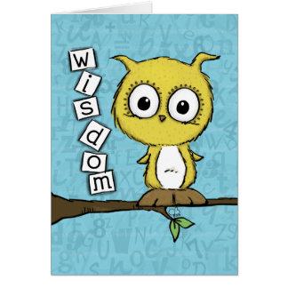 Coruja bonito da sabedoria cartão comemorativo