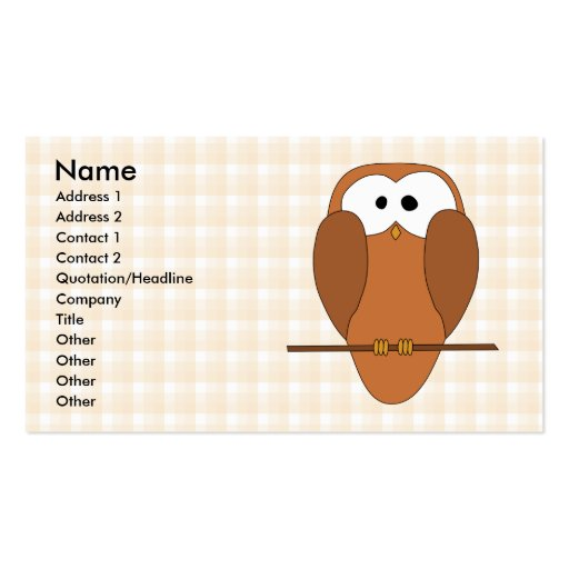 Coruja bonito de Brown, fundo bege da verificação Cartao De Visita