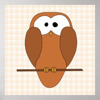 Coruja bonito de Brown, fundo bege da verificação Poster
