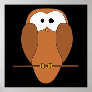 Coruja bonito de Brown Poster
