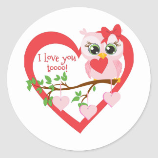 Coruja bonito do amor adesivo
