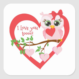 Coruja bonito do amor adesivo quadrado