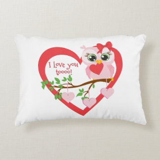 Coruja bonito do amor almofada decorativa