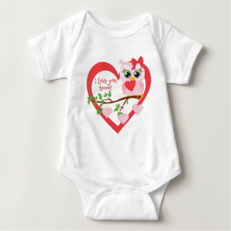 Coruja bonito do amor body para bebê