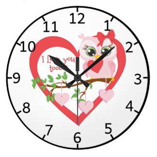 Coruja bonito do amor relógios de paredes