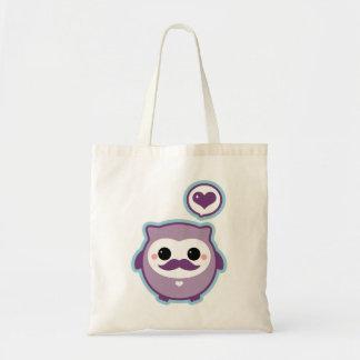 Coruja bonito do bigode bolsas para compras