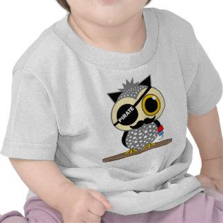 coruja bonito do pirata camisetas