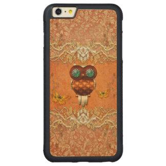 Coruja bonito do steampunk capa bumper para iPhone 6 plus de carvalho, carved