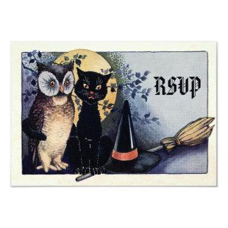 Coruja bonito do vintage e gato o Dia das Bruxas Convite 8.89 X 12.7cm