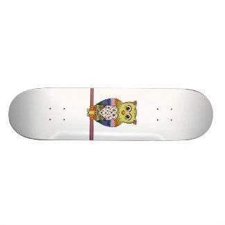 Coruja colorida bonito - branco shape de skate 18,7cm