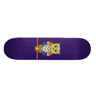 Coruja colorida bonito na noite iluminada estrela shape de skate 18,4cm
