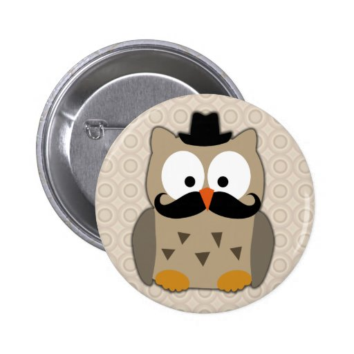 Coruja com bigode e chapéu botons