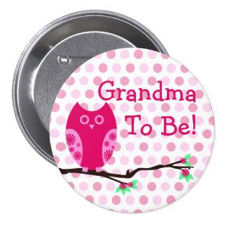 "Coruja cor-de-rosa ""avó a ser"" botão do chá de fra botons"