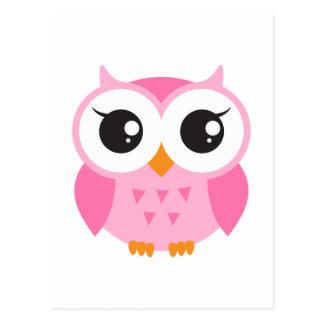 Coruja cor-de-rosa bonito do bebê dos desenhos ani cartão postal