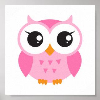 Coruja cor-de-rosa bonito do bebê dos desenhos ani impressão