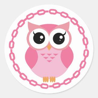 Coruja cor-de-rosa bonito dos desenhos animados adesivo