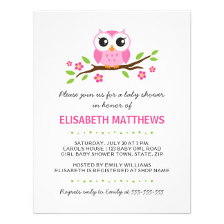Coruja cor-de-rosa bonito no chá de fraldas floral convite personalizados