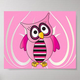 Coruja cor-de-rosa bonito poster