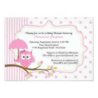 Coruja cor-de-rosa com o chá de fraldas das convite 12.7 x 17.78cm