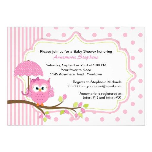 Coruja cor-de-rosa com o chá de fraldas das menina convites personalizados