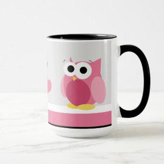 Coruja cor-de-rosa engraçada com corações - caneca