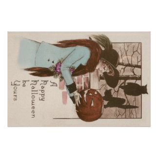 Coruja da abóbora da lanterna de Jack O da mulher Poster