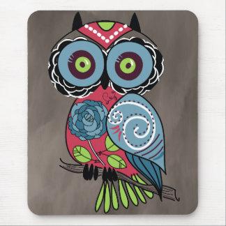 Coruja da arte popular - lindo! mouse pad