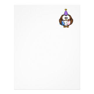 Coruja da festa de aniversário papeis de carta personalizados