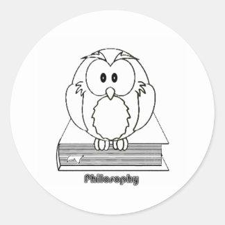 Coruja da filosofia do livro de COM de Filosofia Adesivo
