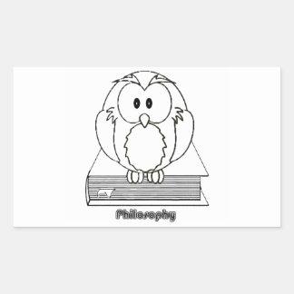 Coruja da filosofia do livro de COM de Filosofia Adesivo Retangular