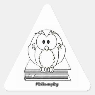 Coruja da filosofia do livro de COM de Filosofia Adesivo Triangular