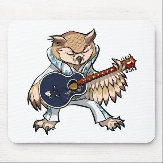 Coruja da guitarra do rock and roll em desenhos mouse pad