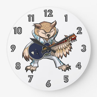 Coruja da guitarra do rock and roll em desenhos relógios de paredes
