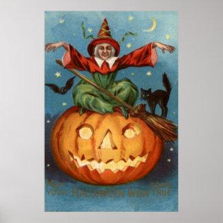 Coruja da lanterna de Jack O do gato preto de vass Poster