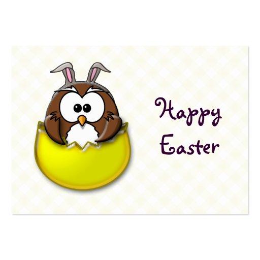 Coruja da páscoa - amarelo cartões de visitas