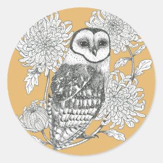 coruja de celeiro do vintage e etiqueta das flores