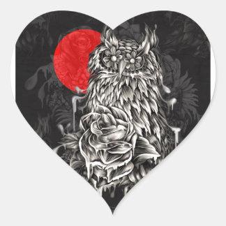 Coruja de noite adesivo coração