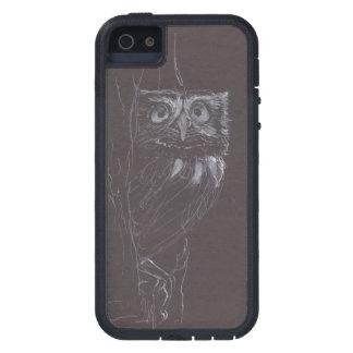 Coruja - desenho original - tinta branca - caso capa para iPhone 5