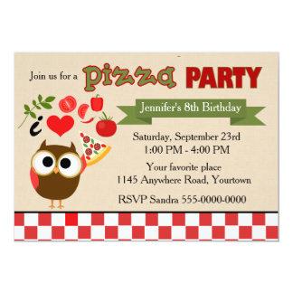 Coruja do aniversário do partido da pizza convite 12.7 x 17.78cm