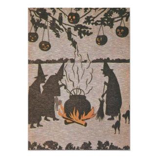 Coruja do caldeirão da lanterna de Jack O da bruxa Convite 12.7 X 17.78cm