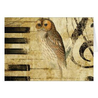 Coruja do ~ do pergaminho do vintage no piano cartões