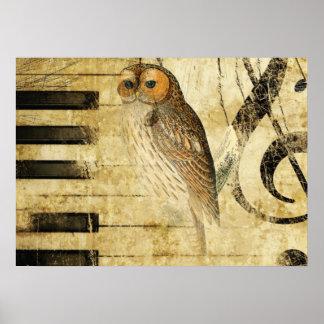 Coruja do ~ do pergaminho do vintage no piano pôster