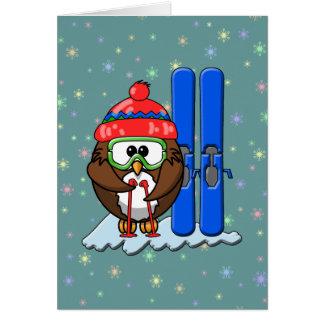 coruja do esquiador cartão comemorativo